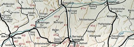 Die Donaubahn auf der Kursbuchkarte 1970. Hamlar ist der erste Bahnhof, nachdem der Zug Donauwörth Richtung Ingolstadt Hbf verlassen hat.